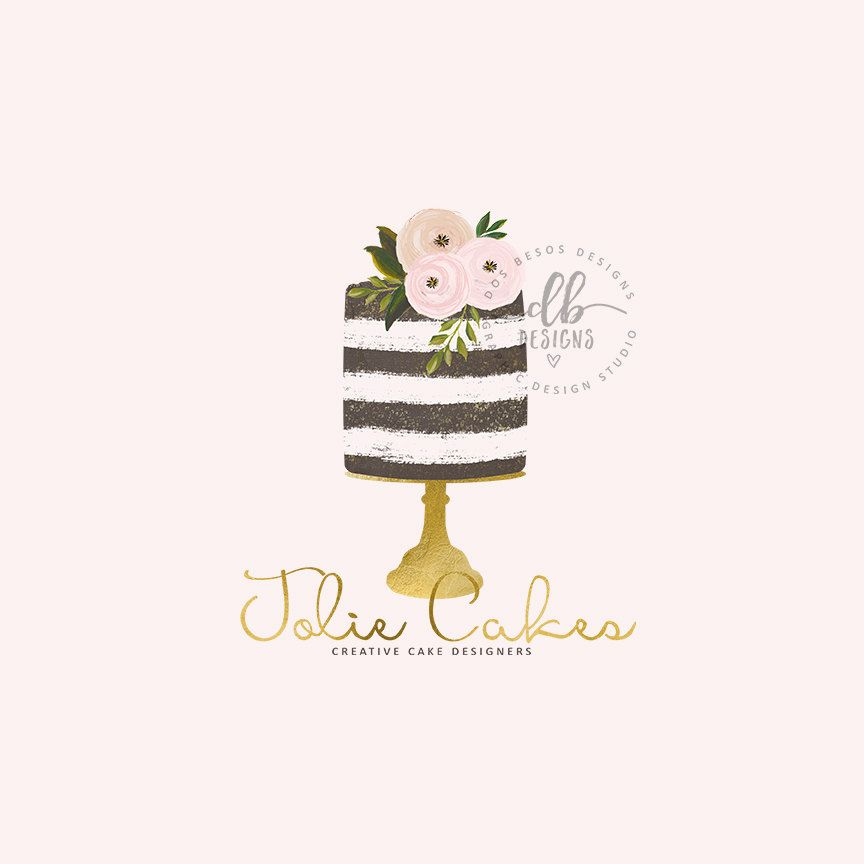 Cake Logo Premade Logo Watercolor Floral Cake Gold Bakery Logo