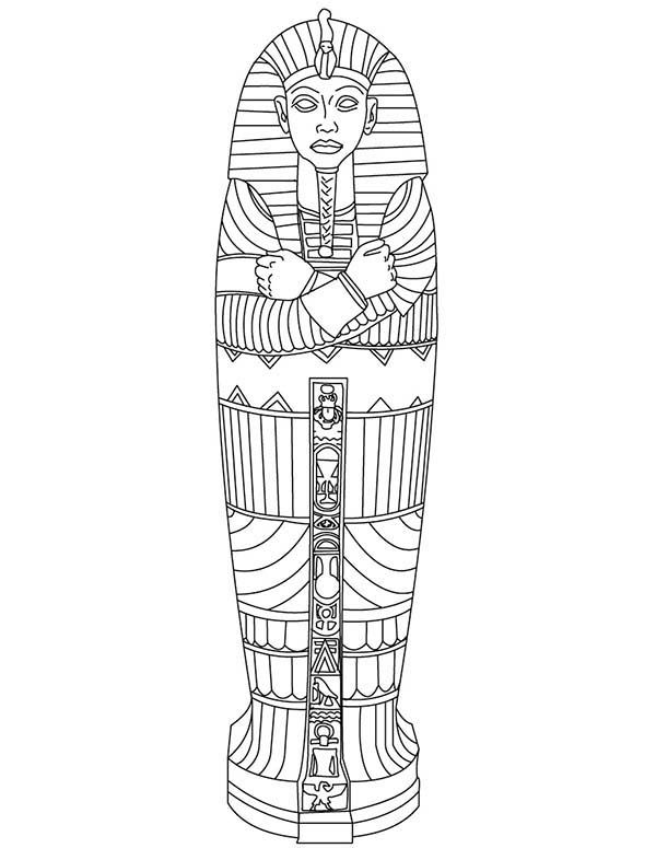 king tut gold sarcophagus of ancient egypt coloring page - Ancient Egypt Mummy Coloring Pages