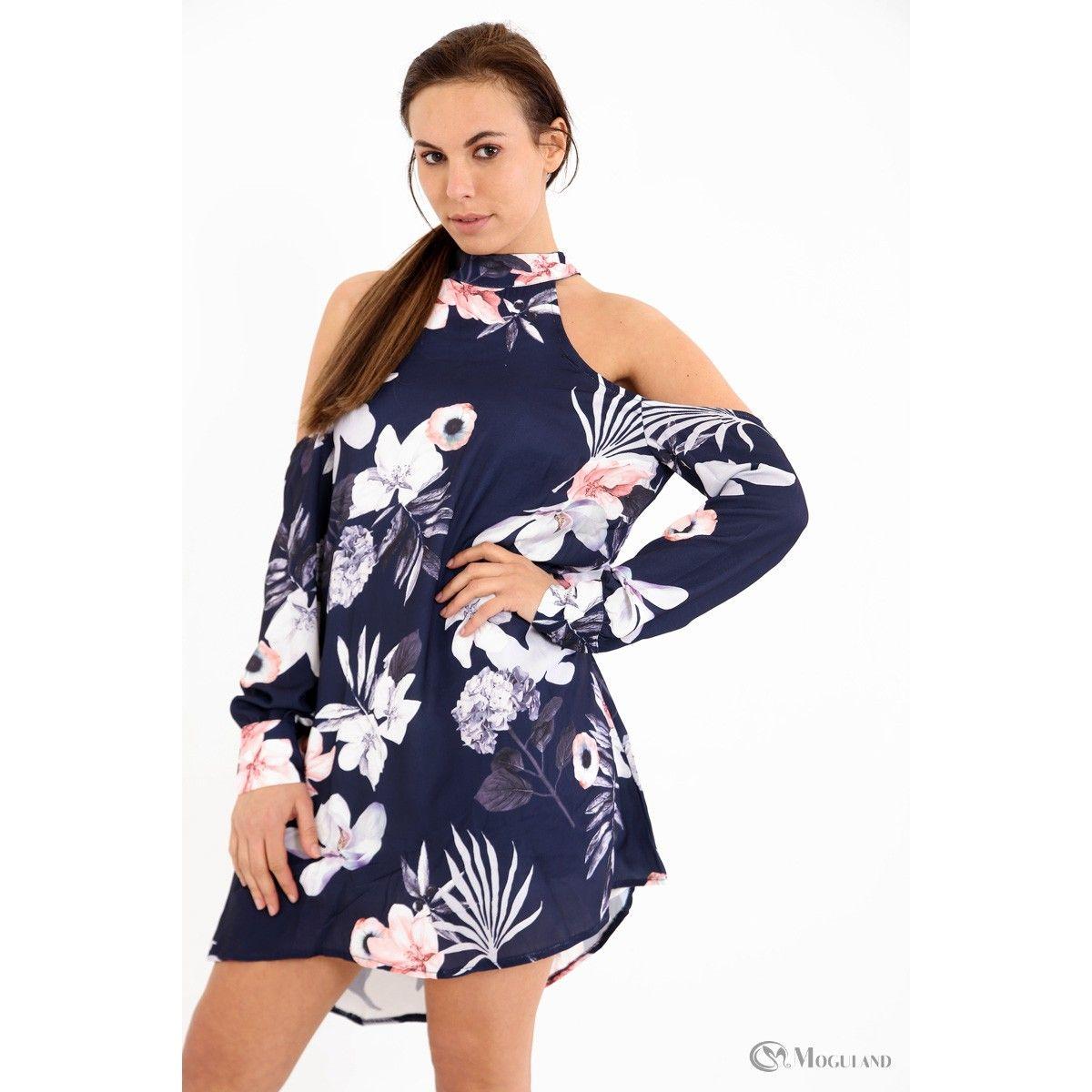 fcc527b88cc Ladies blue floral high neck cold shoulder dress wholesale - new in  dresses  - Women s Wholesale Clothing Supplier