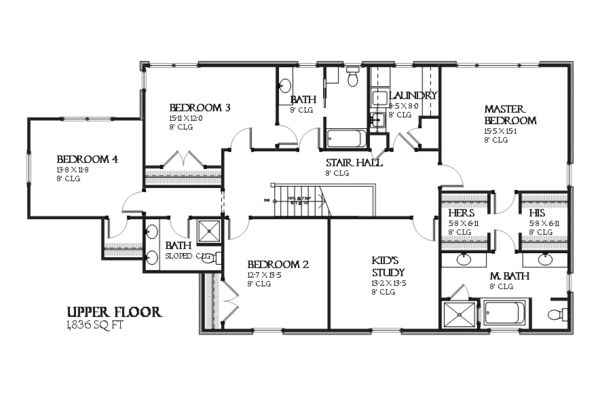 Colonial Style House Plan - 4 Beds 3.5 Baths 3400 Sq/Ft Plan #901-115 Floor Plan - Upper Floor Plan - Houseplans.com