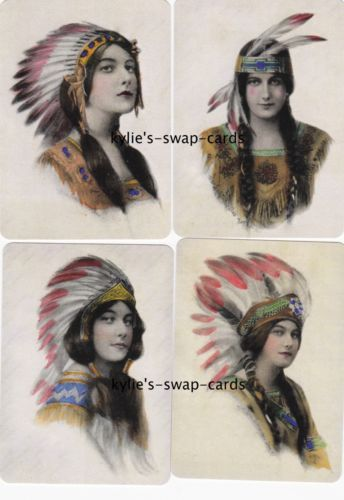 087-SET-OF-4-swap-playing-cards-MINT-COND-pretty-Native-American-Indian-ladies