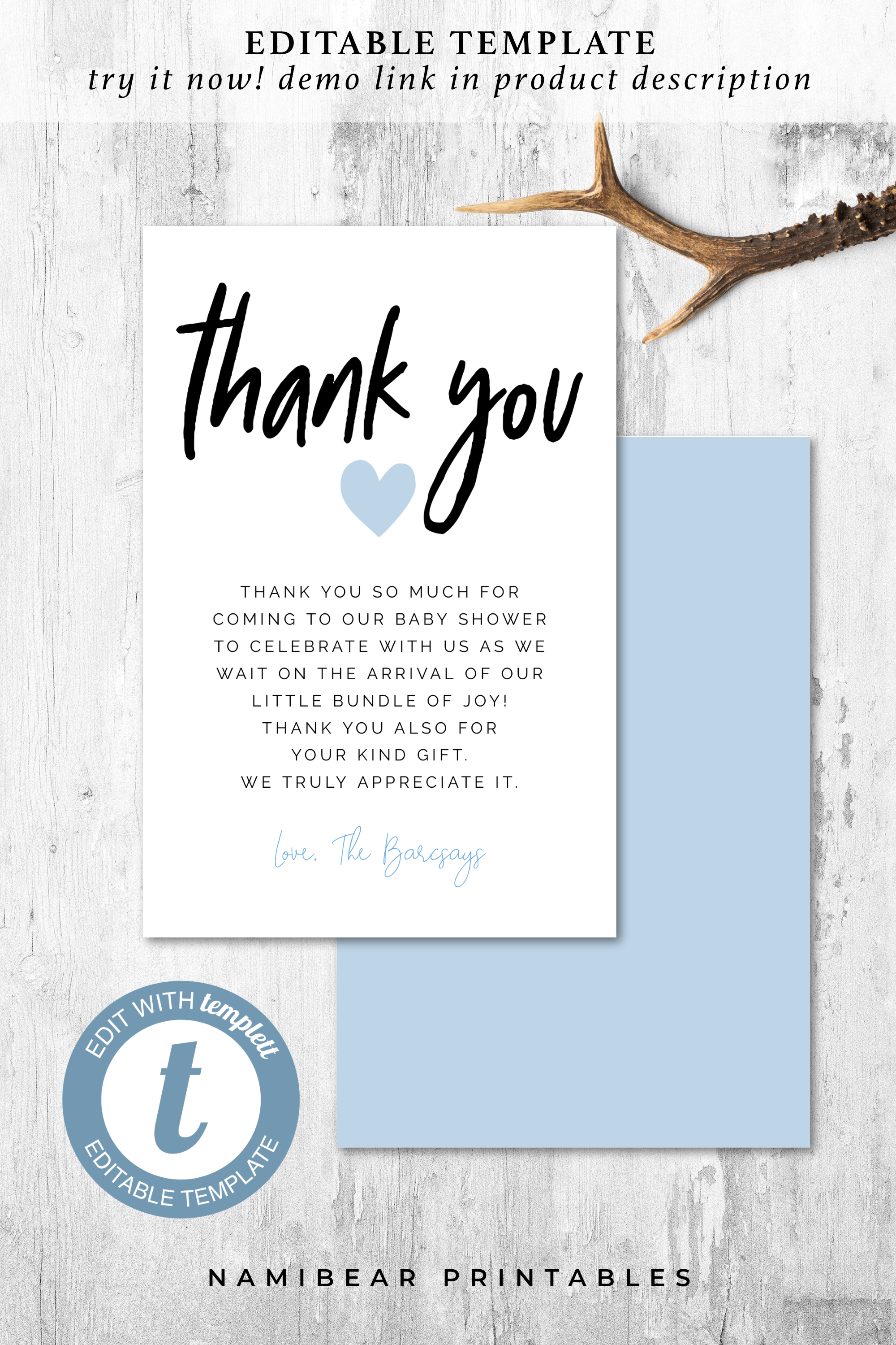 Printable Modern Baby Shower Thank You Card Editable Etsy Baby Shower Thank You Baby Shower Thank You Cards Heart Baby Shower