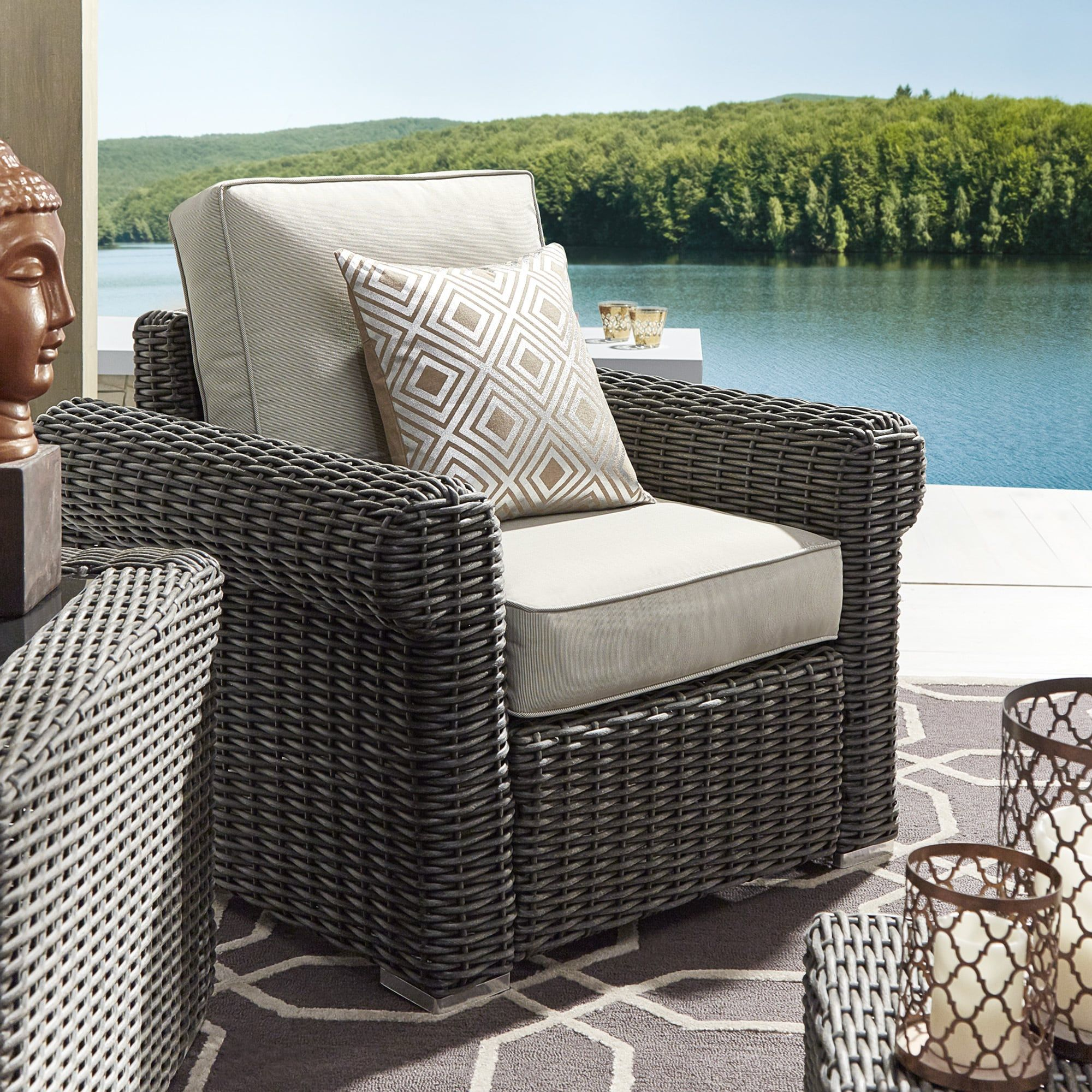 Barbados Wicker Outdoor Cushioned Grey Charcoal Occasional