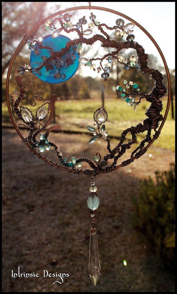 Wire Wrapped Seaside Blues, Gemstone and Swarovski Crystal Garden Suncatcher in Copper and Bronze