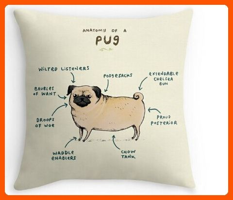 CCTUSGSH Funny Anatomy Of A Pug Cute Puppy Cotton Throw Pillow Case Cushion Cover 18 X 18 Inches One Side