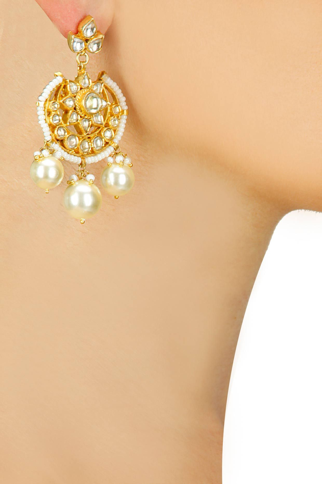 Gold plated pearl and crystal flower pattern chandbali earrings available only at Pernia's Pop-Up Shop.
