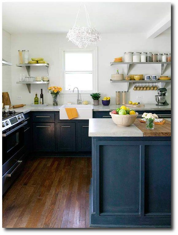 Find This Pin And More On Kitchens Ikea Farmhouse Sink Open Shelving Navy Blue Cabinets