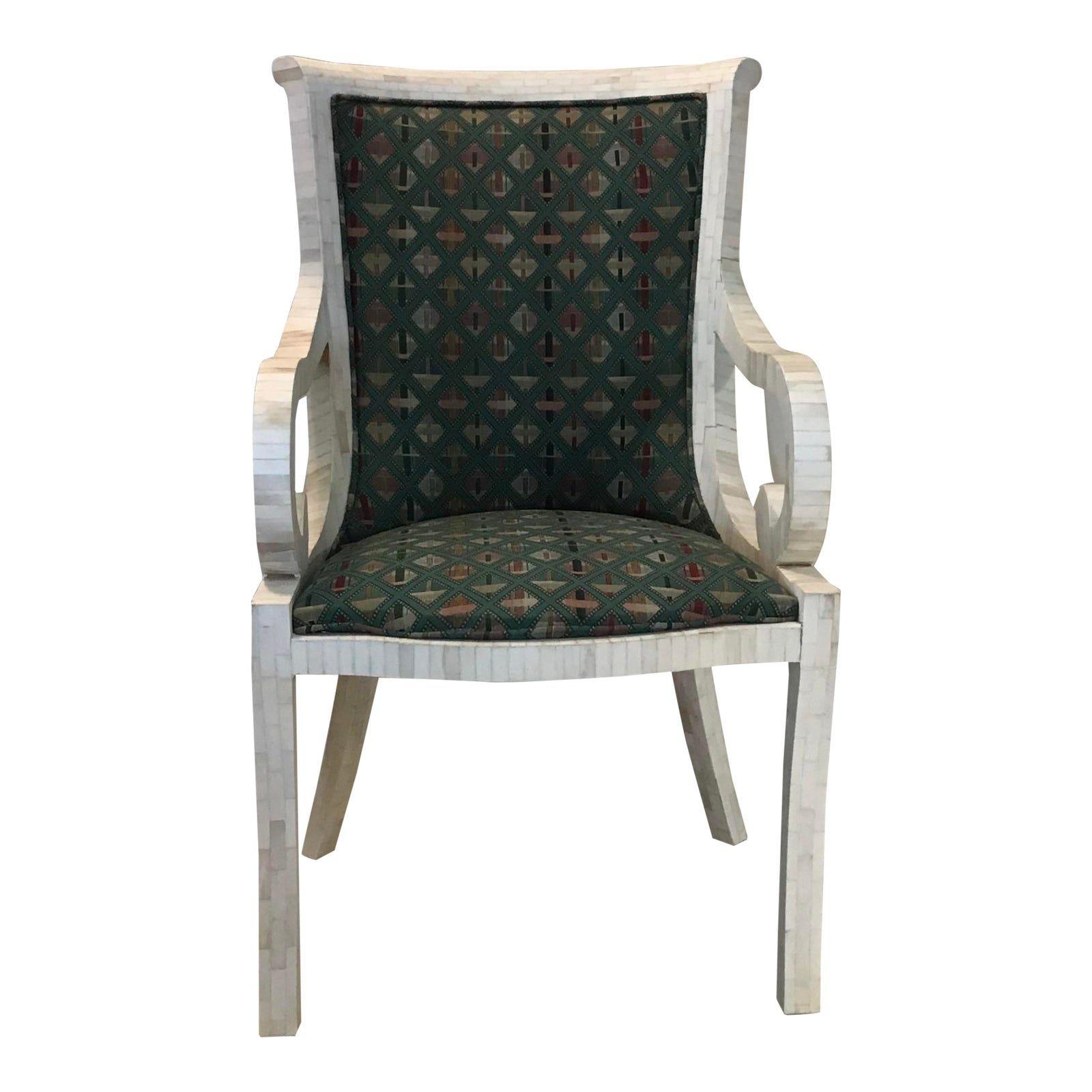 Vintage 1970s Enrique Garcel For Karl Springer White Bone Tile Arm Chair In 2020 Armchair Design Chair Armchair