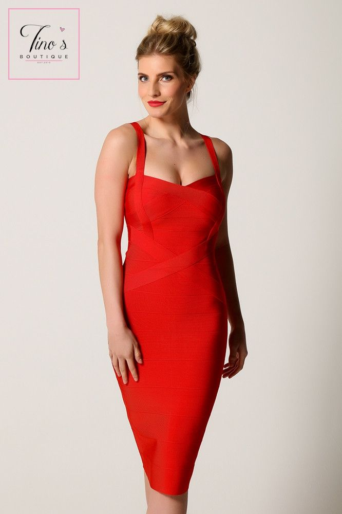66ac3b2d4b5 Ruby  Red Pencil Bandage Dress in 2019