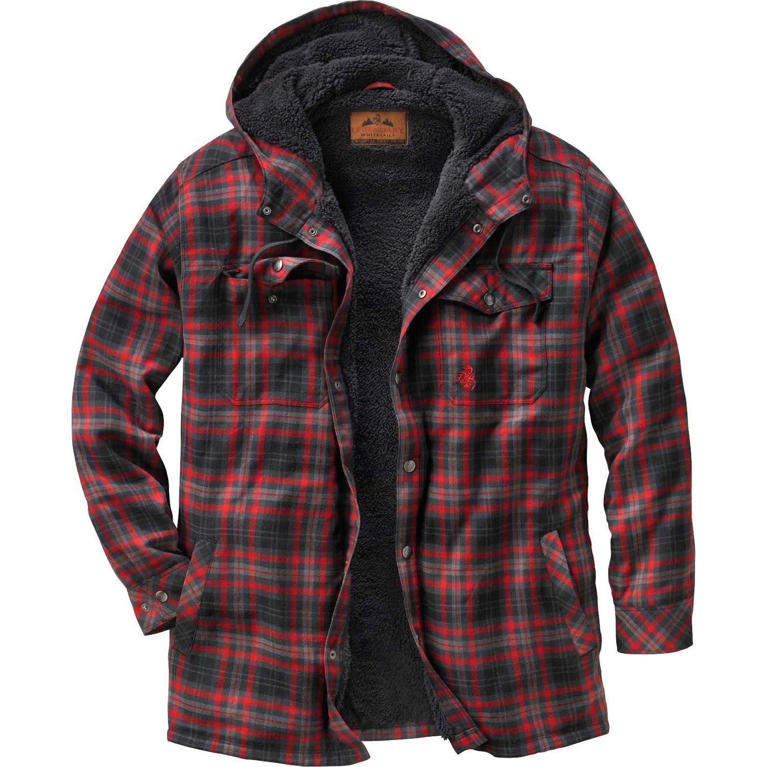210f10b7970 Legendary Whitetails Men's Camp Night Berber Lined Hooded Flannel Arrowhead  Plaid XX-Large