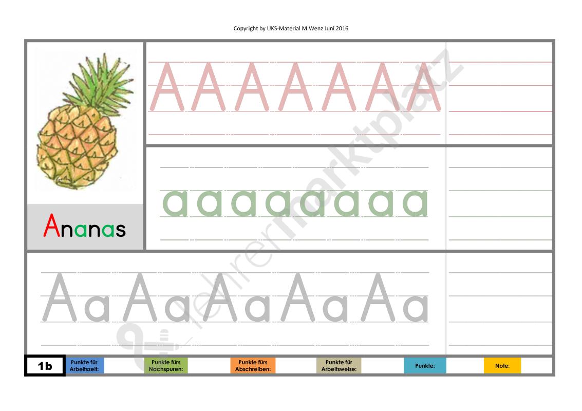 Buchstabenblättersammlung A-Z (Komplettpaket) zum Schreibenlernen in ...
