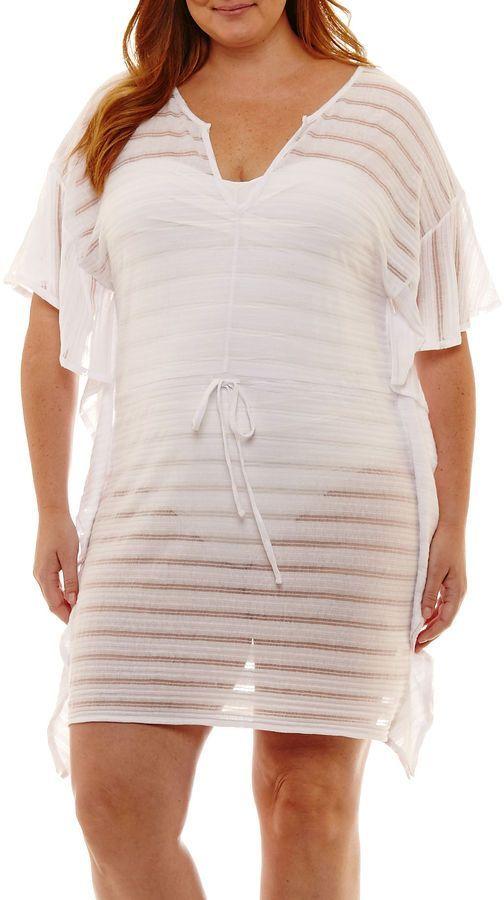 6c91a212d4 Porto Cruz Stripe Knit Swimsuit Cover-Up Dress-Plus | Products ...