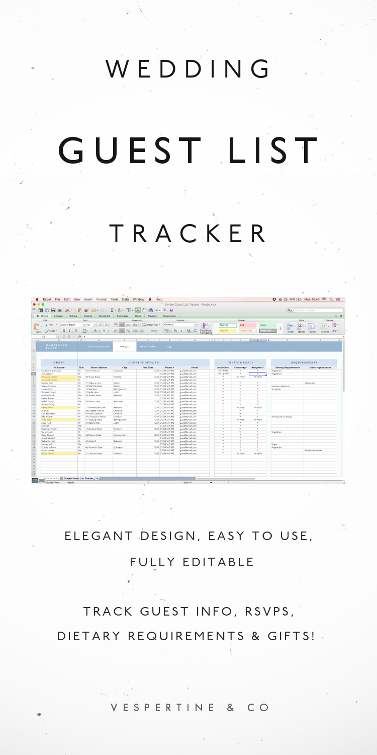 Wedding Guest List Tracker Excel Spreadsheet Planning Template