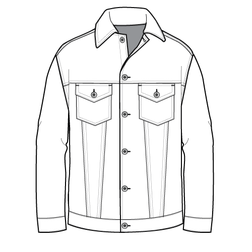 DENIM TRUCKER JACKET FLAT SKETCH | DRAWING | Pinterest | Sketches Drawings and Fashion ...