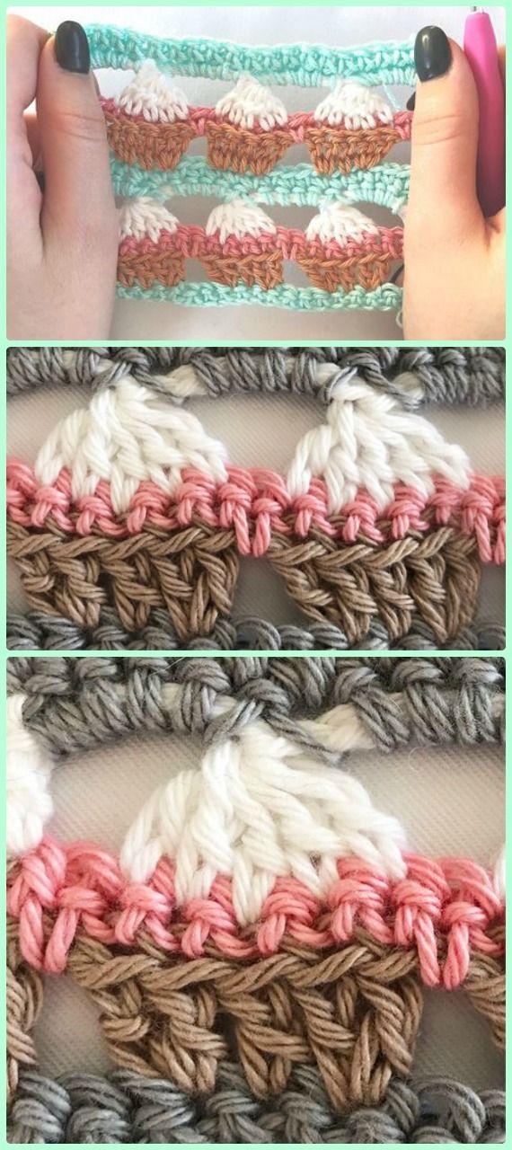 Crochet Cupcake Stitch Free Patterns | Puntadas, Magdalenas y Ganchillo