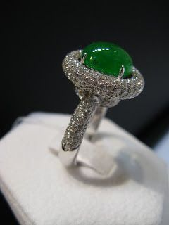 Green Burmese jade with white gold and diamonds