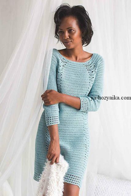 f529e4a602a Платье крючком с ажурными вставками. Каталожная модель платья крючком схемы  и описание