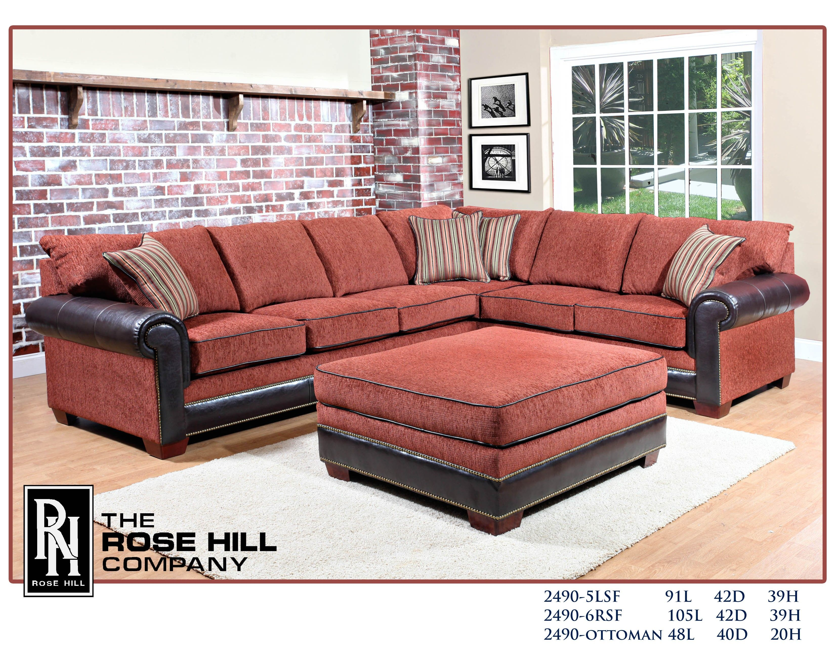 Rose Hill Furniture Alexander Dream Terracota Two Piece Sectional