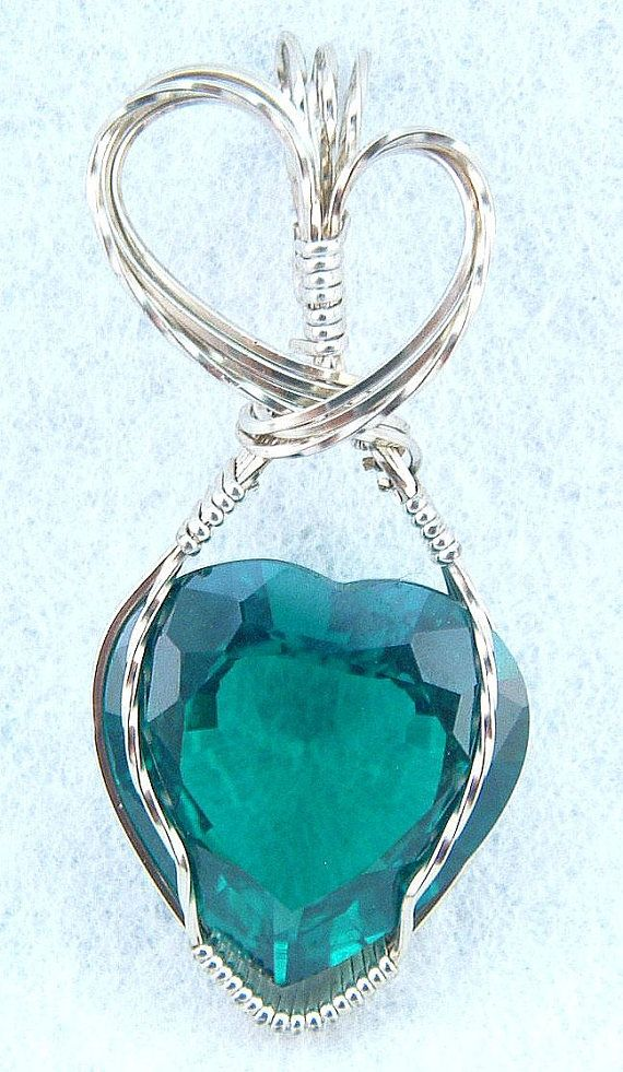Emerald Heart pendant, wire wrapped in white gold jewelry ...