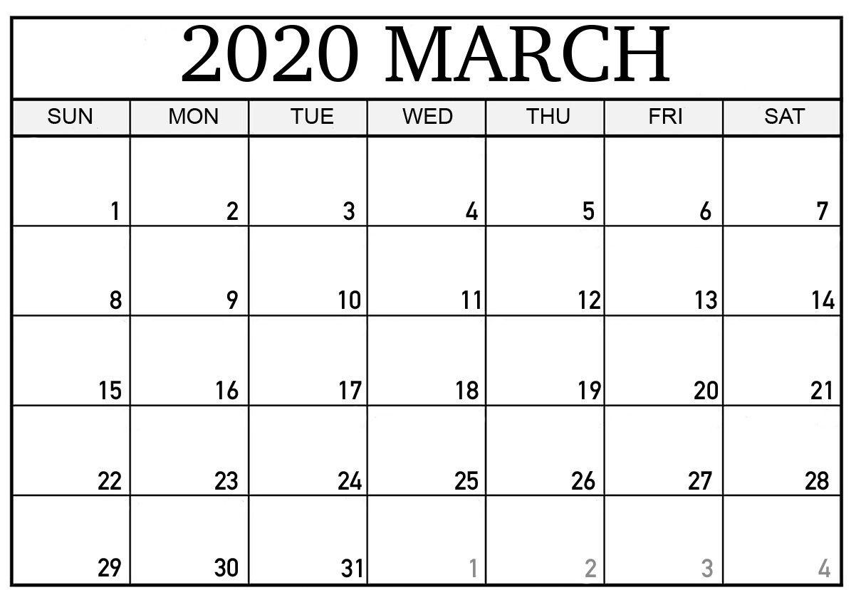Printable March 2020 Calendar Printable Calendar Template Excel