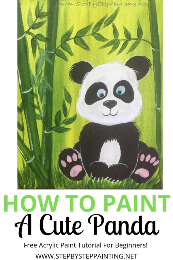 How To Paint A Cute Panda is part of Panda painting, Panda face painting, Painting for kids, Panda drawing, Face painting easy, Panda art - How To Paint A Cute Panda Perfect painting for the panda lover! If you're a beginner, you'll enjoy learning how to paint this super easy and adorable cartoon panda  You'll paint this beautiful golden green wash background with some dark green bamboo next to the panda  This is an excellent painting     Read moreHow To Paint A Cute Panda