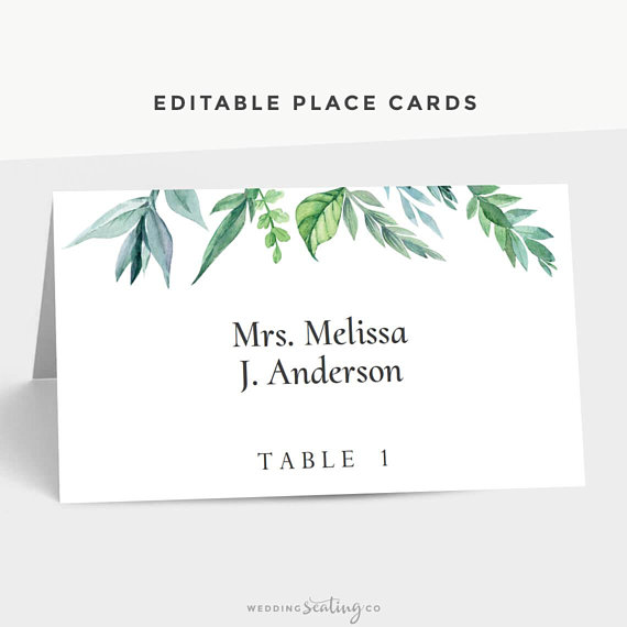Folded Wedding Place Cards Avery Tent Card Template Leaves Etsy Wedding Place Cards Place Setting Cards Personalized Place Cards
