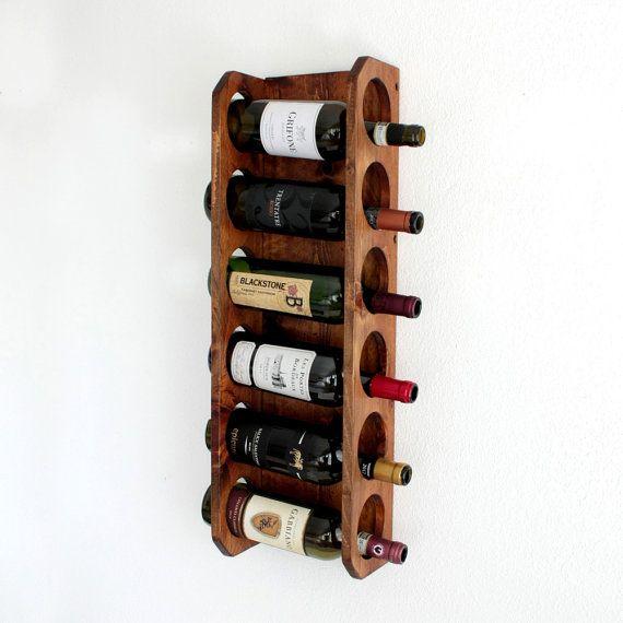Rustic Wine Rack | Home Bar Cabinet | Wood Wine Bottle Display Wall ...