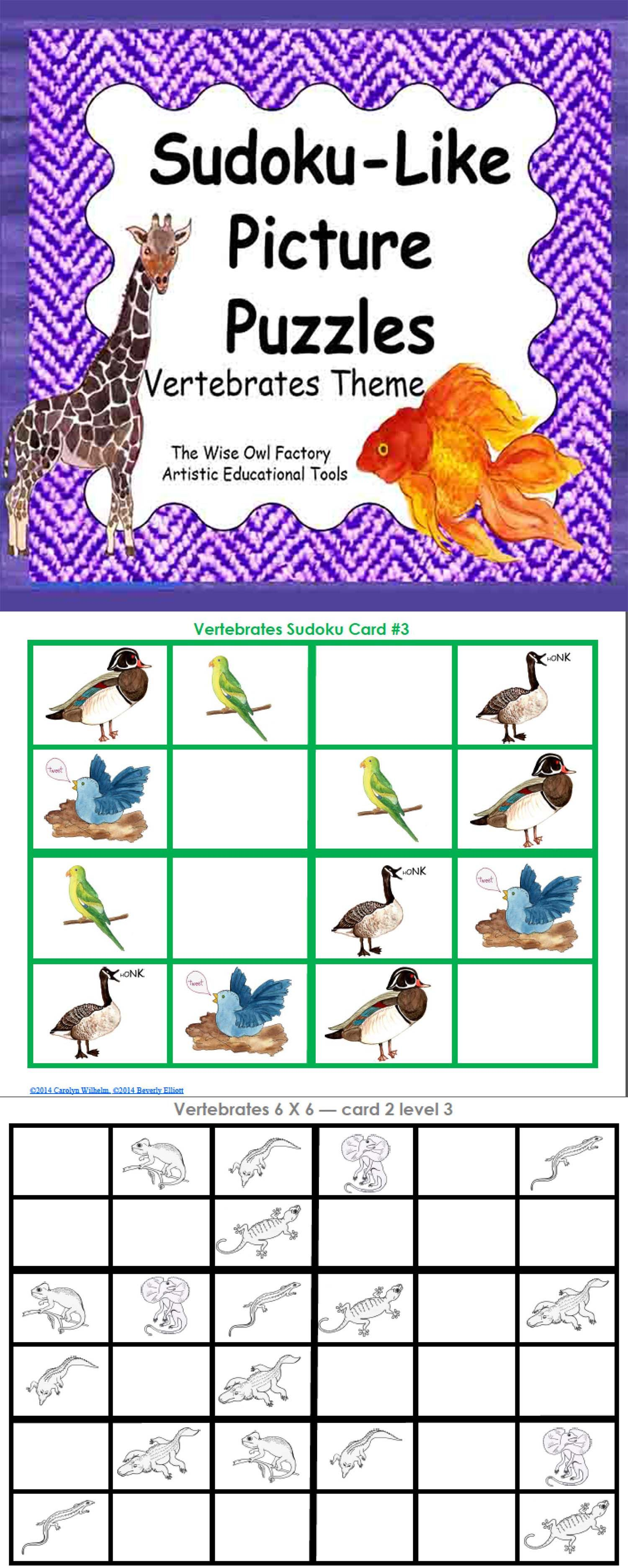Sudoku-Like Picture Puzzles – Vertebrates Theme 4X4 6X6 8X8 and 9X9 ...