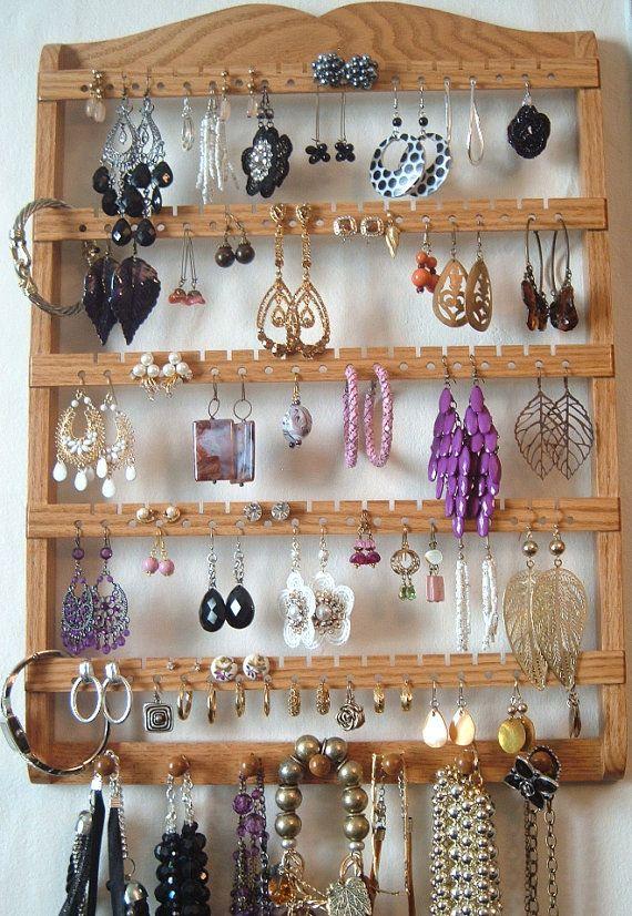Earring Holder, Jewelry Organizer, Solid Oak Wood, Wall ...