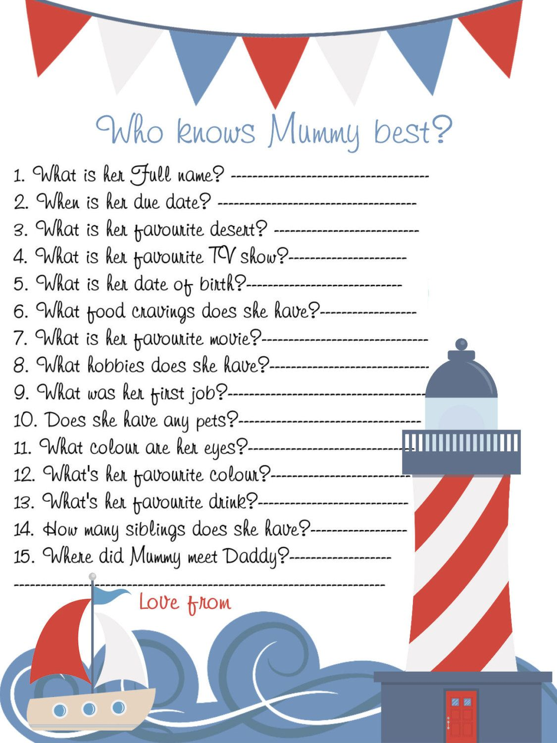 Who Knows Mom Best,Nautical,baby shower ideas,Printable,Instant  Download,Light House,Sea,Baby Boy,Baby Shower Games,Baby Shower,Download,Boy  by ...
