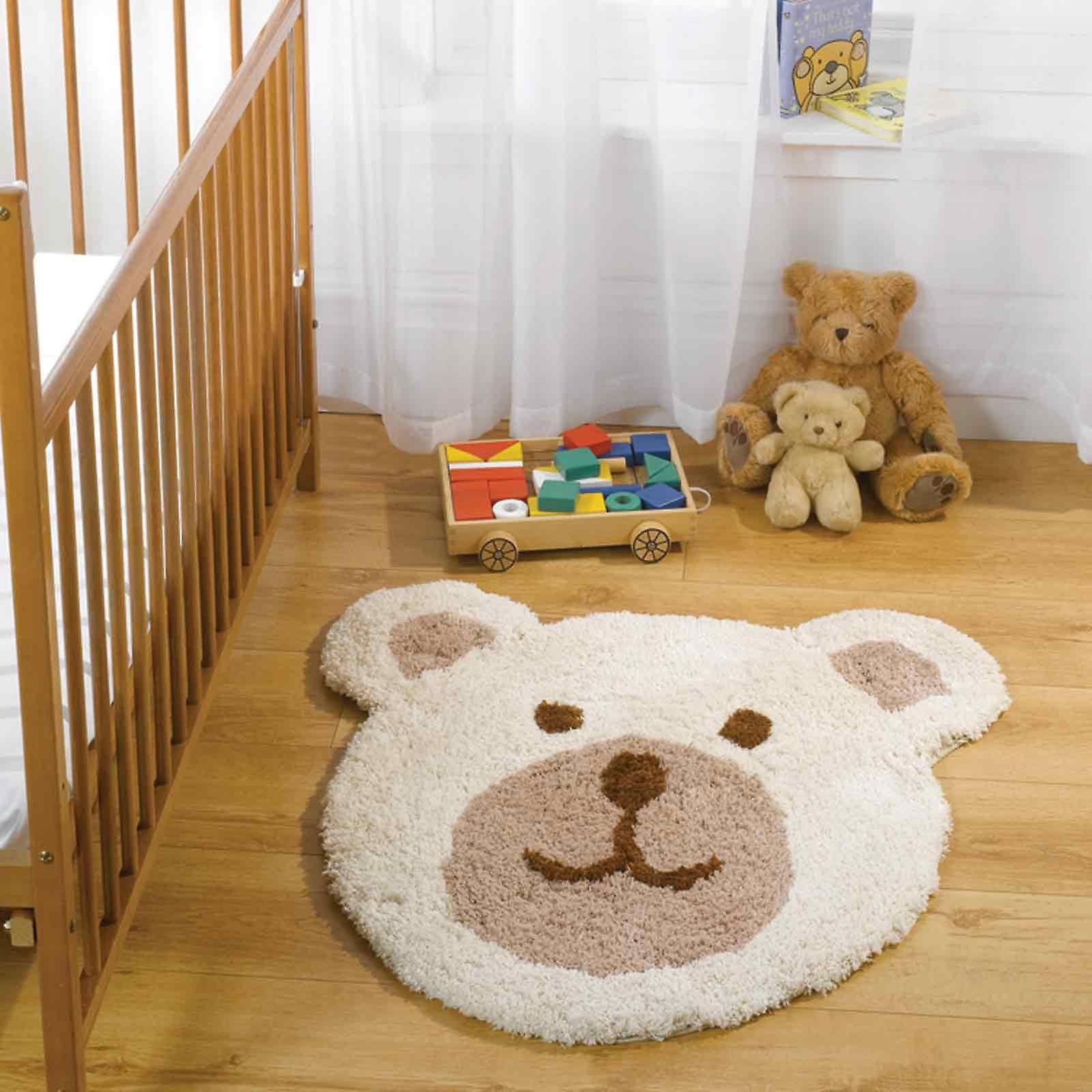 The Teddy Bear Nursery Rug features a soft, fleecy design that is ideal for baby's rooms. Our Nursery Rugs are Handmade with a soft, 100% polyester pile that is designed to offer comfort and enjoyment for childrens bedrooms.