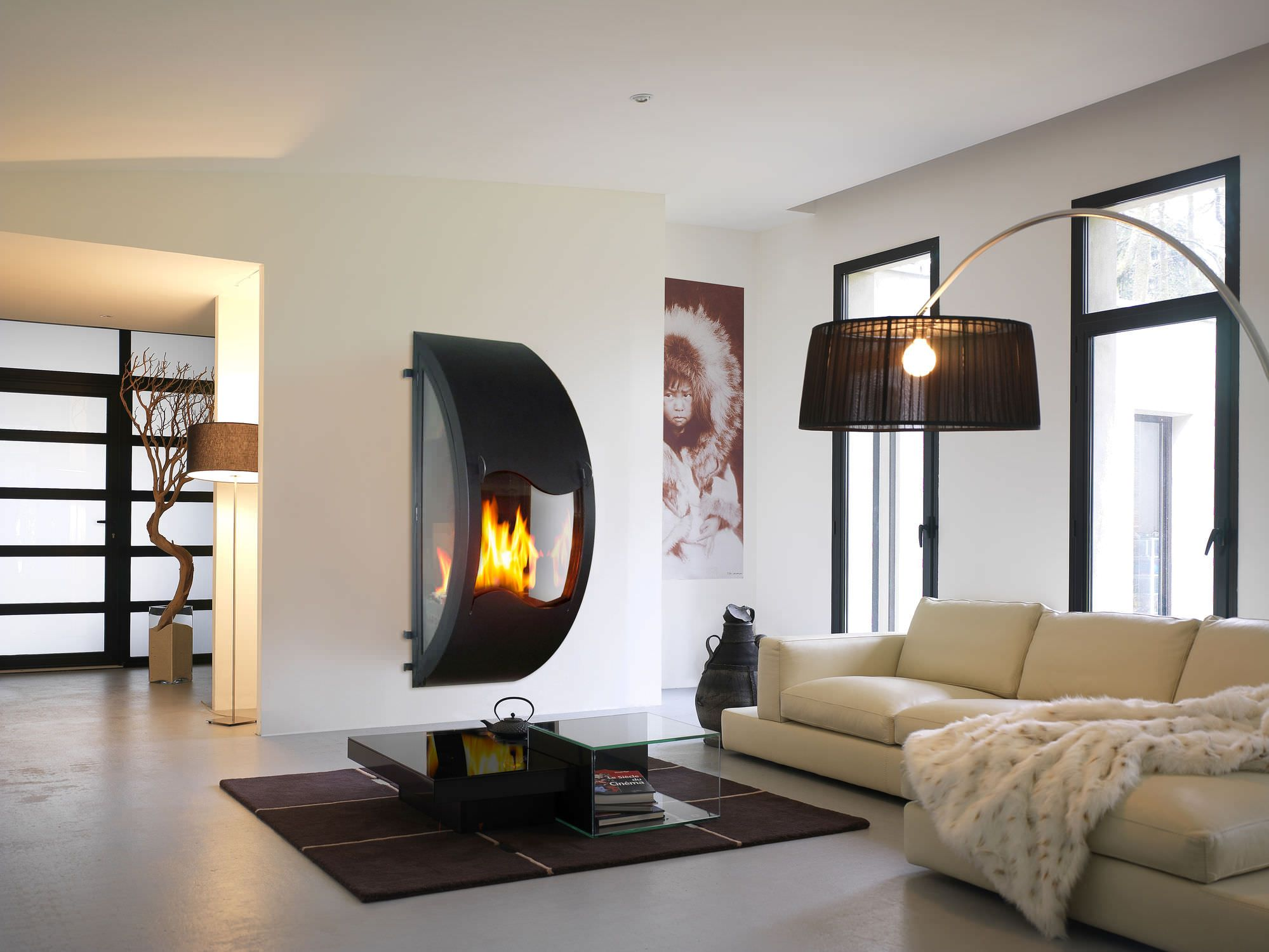 Contemporary Breathtaking Wall Mounted Fireplace Ideas With Amazing Hal  Circle Shaped Gas Closed Steel Hearth Vent