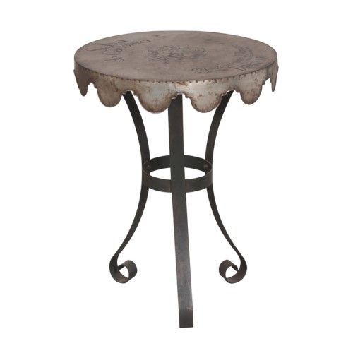 Champagne Army Metal Accent Chair: Guild Master Wine Country End Table