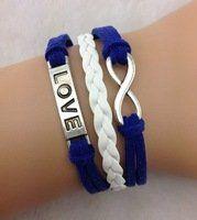 White, Blue & Silver Multi-strand Cord Bracelet, Men, Womens, Boys or Girls Bracelet. 3pcs Infinity Bracelet - Love Bracelet, Antique Silver, Blue Charm Bracelet, Bangle Cuff Bracelet AL001,http://www.amazon.com/dp/B00EWTJ4IO/ref=cm_sw_r_pi_dp_QEnOsb1DE4HS2GN8