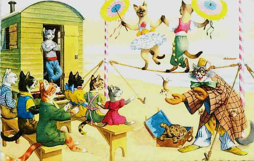 Cats Eugen Hartung Artist Signed Mainzer Dressed Cats Walk Tight Rope Postcard | eBay