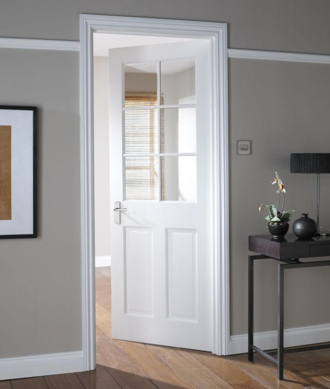 This 6 Light Glazed Interior Door Has Clean Minimal Contemporary Lines That Will Modernise The White Interior Doors Glass Doors Interior White Internal Doors
