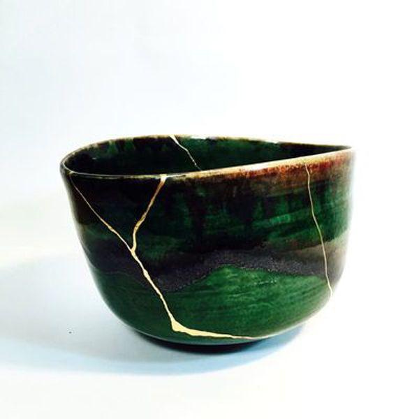 Ceramique Verte Réparé Grace à De L Or Technique Kintsukuroi Poterie Japonaise Poterie Céramique Japonaise