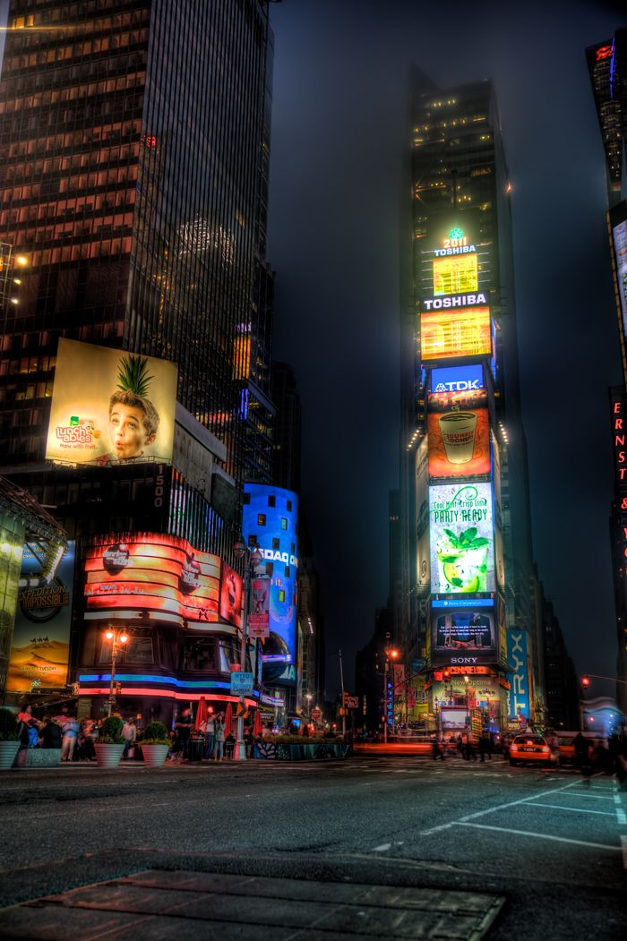 New York City's Times Square lit up late at night.