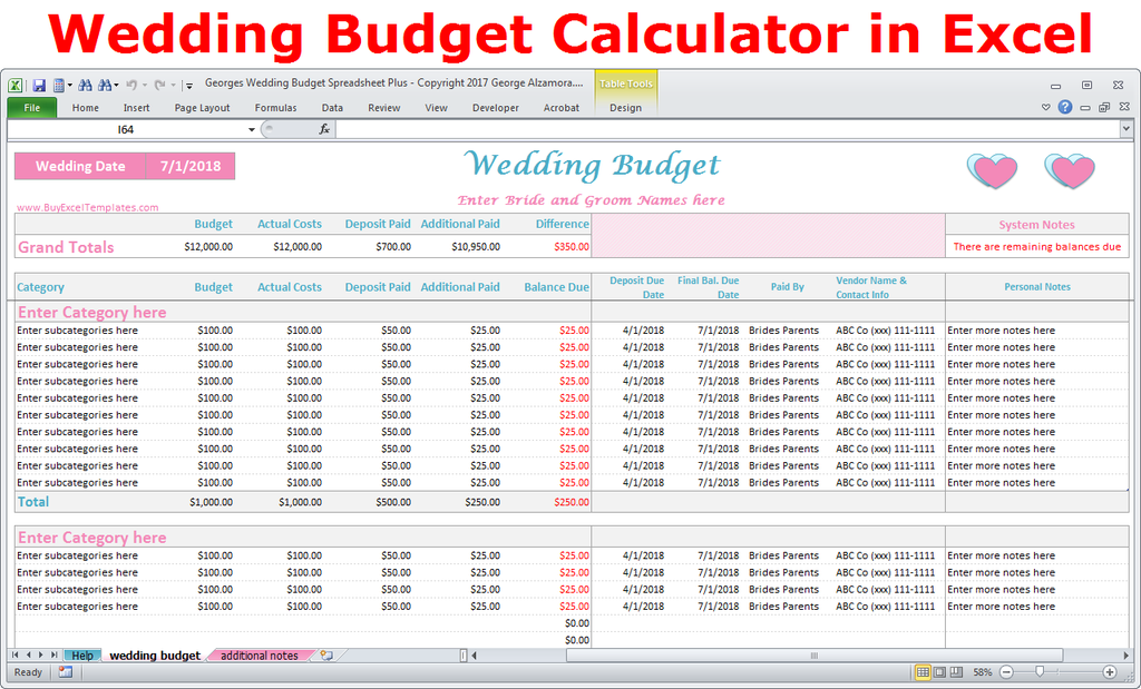 Georges Wedding Budget Spreadsheet Plus V