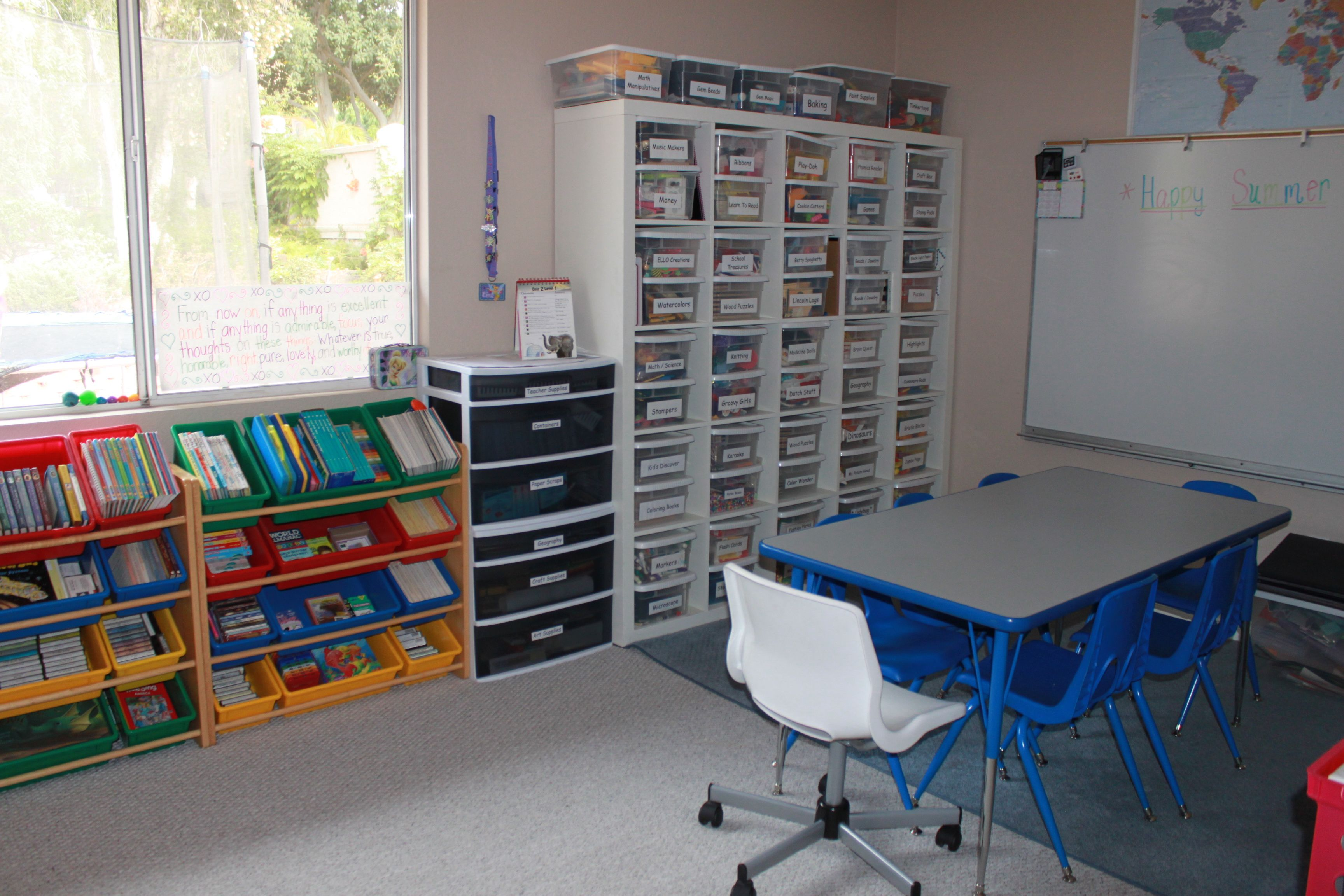 My sister's organized homeschool room. @Michele Morales Morales Morales Morales Gaeta