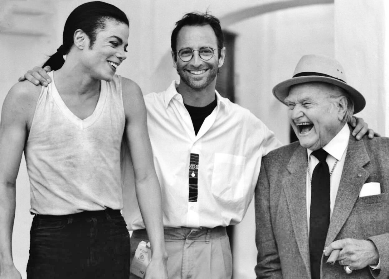 Michael, Herb and Red Skelton, candid on the set of In The Closet by Michael Jackson.