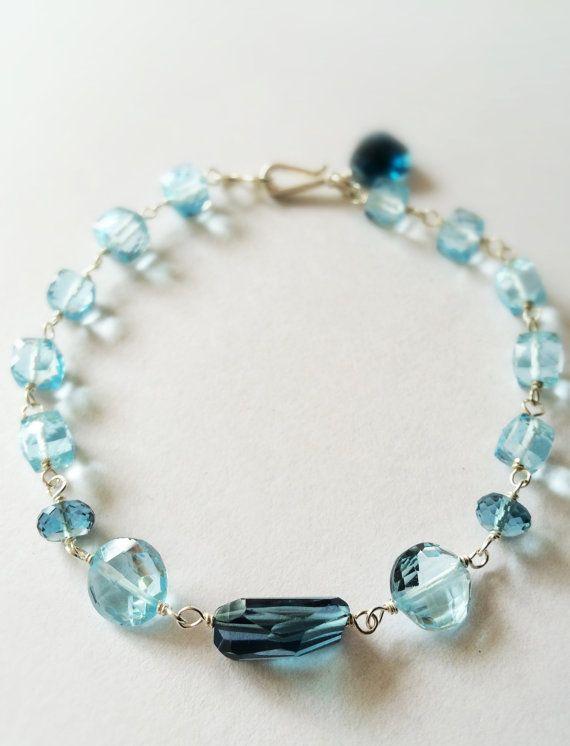London beauty Aqua chalcedony Clear Quartz Gemstone Necklace Blue Topaz