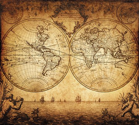 google pinterest travel maps vintage 1733 vintage world map wall mural wall murals and 1733 vintage world map wall mural removable wall decals are easy to install gumiabroncs Choice Image