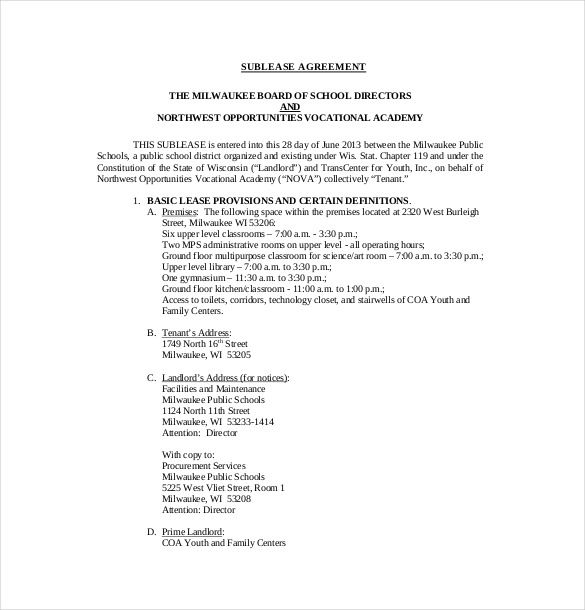 Example Sublease Agreement Template   Useful Sublease