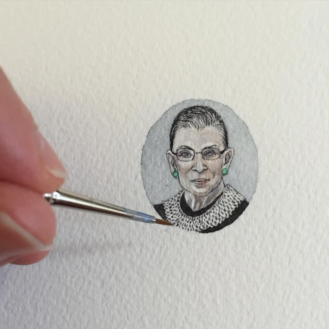 Brooke Rothshank Tiny Watercolor Portrait Of Supreme Court Justice Ruth Bader Ginsburg
