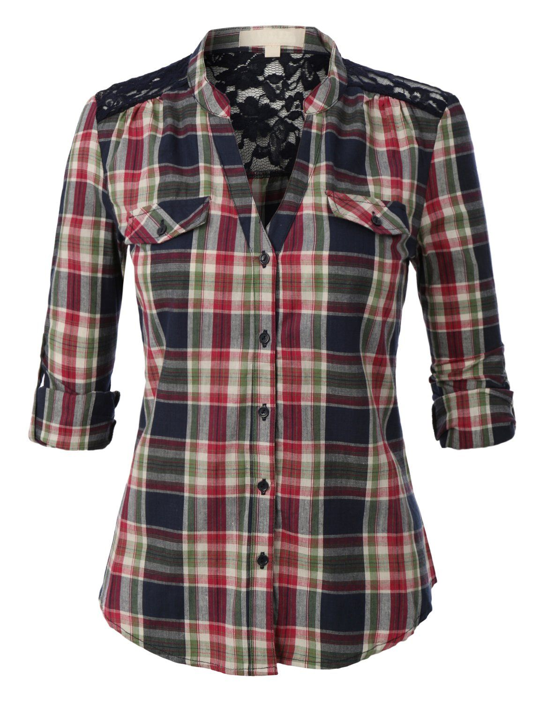 Flannel shirt party  LENO Womenus Two Pocket Button Down Plaid Lightweight Flannel Shirt
