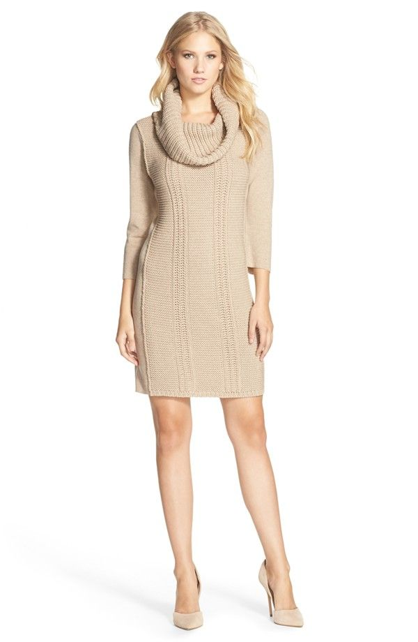 Vince Camuto Cowl Neck Sweater Knit Shift Dress (Regular & Petite ...