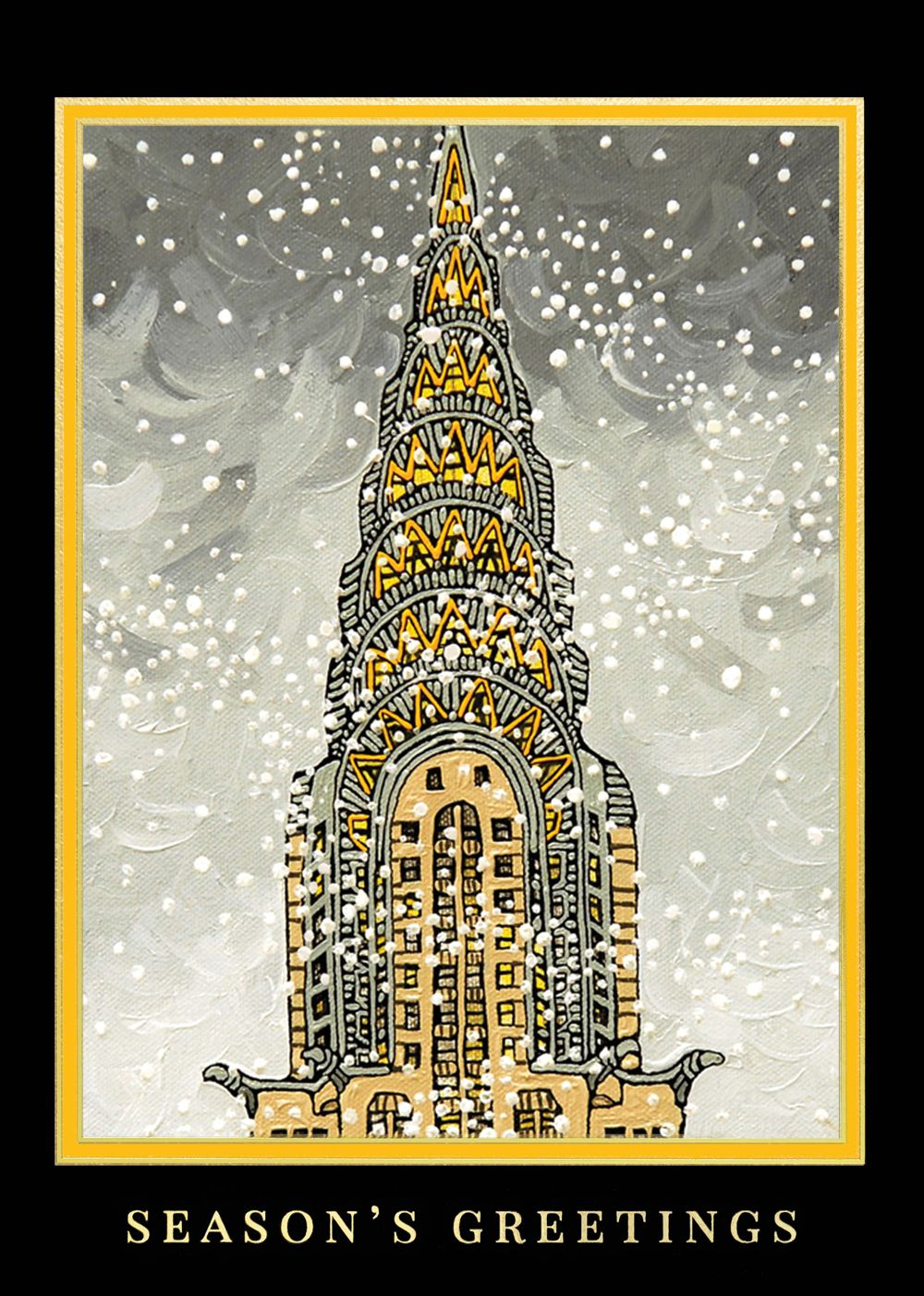 american artist chrysler building holiday card discount greeting cards