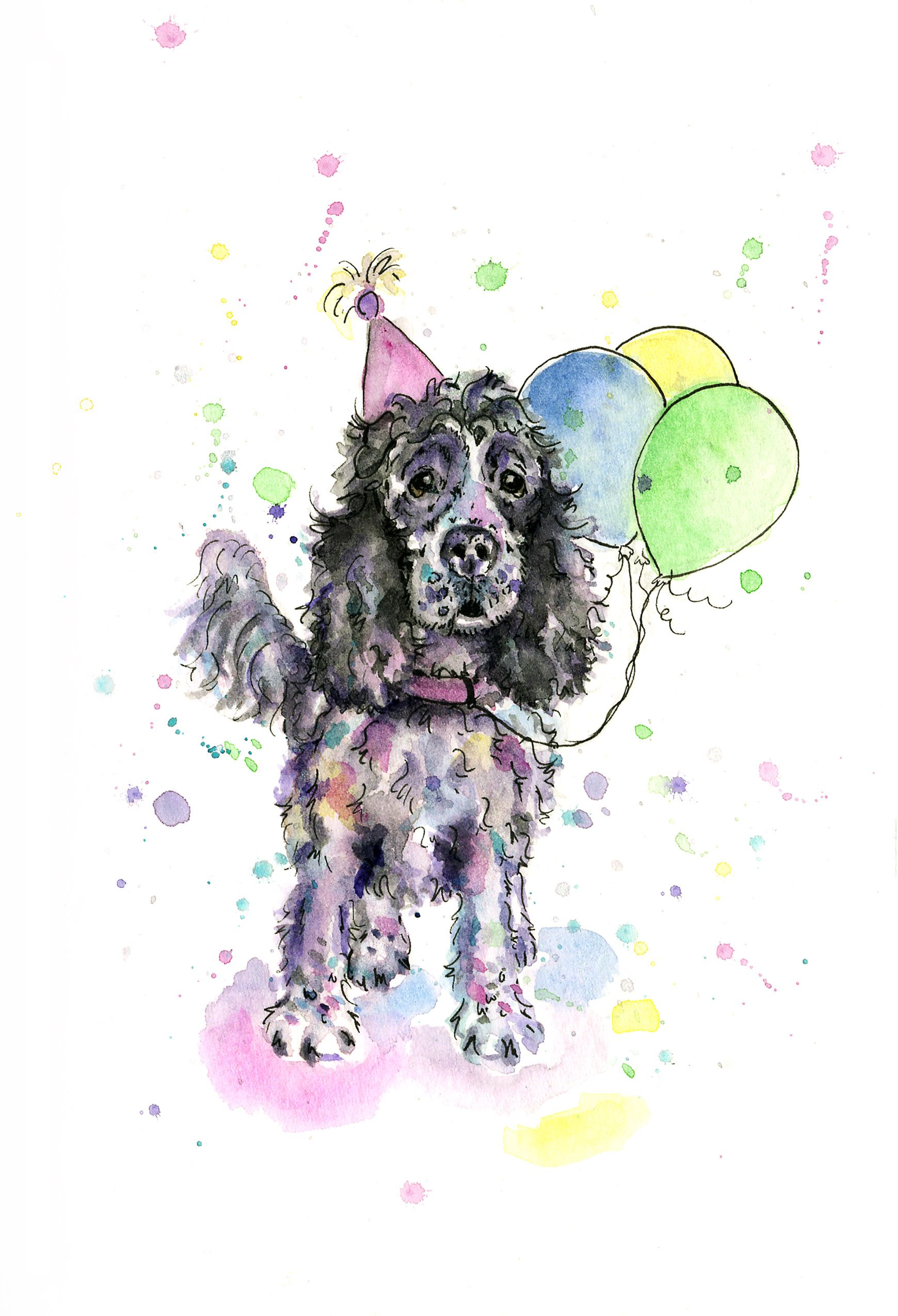 Blue Roan Cocker Spaniel Birthday Card Gift For Owners Colourful Watercolour Painting Birthdaycards Dogbirthdaycards