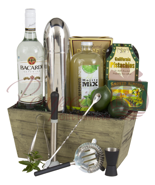 Mojito Time Rum Gift Basket By Pompei Baskets Mojito Cocktail Gift Basket Corporate Gifts